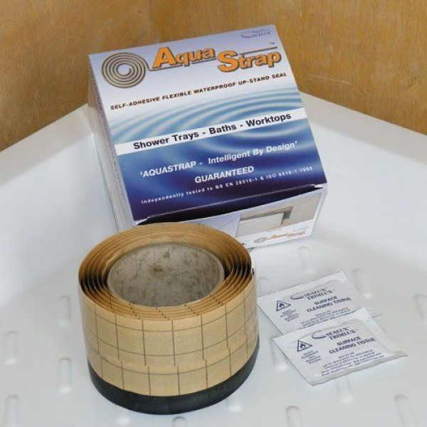 AquaStrap 2.3M Waterproofing Seal on Shower Tray