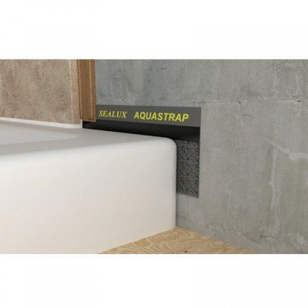 AquaStrap stuck onto shower tray sidewall